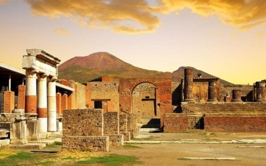 Ancient city of Pompeii at sunset, Italy.