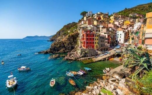 View of the village Riomaggiore. Cinque Terre National Park, Liguria Italy