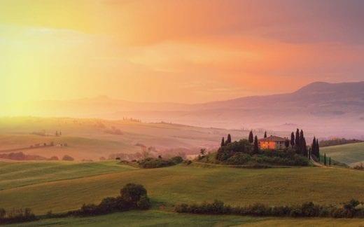 Farm in Tuscany at dawn