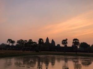 Angkor Wat against orange sky