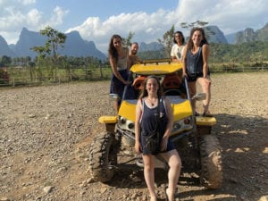 Group of people with ATV buggy