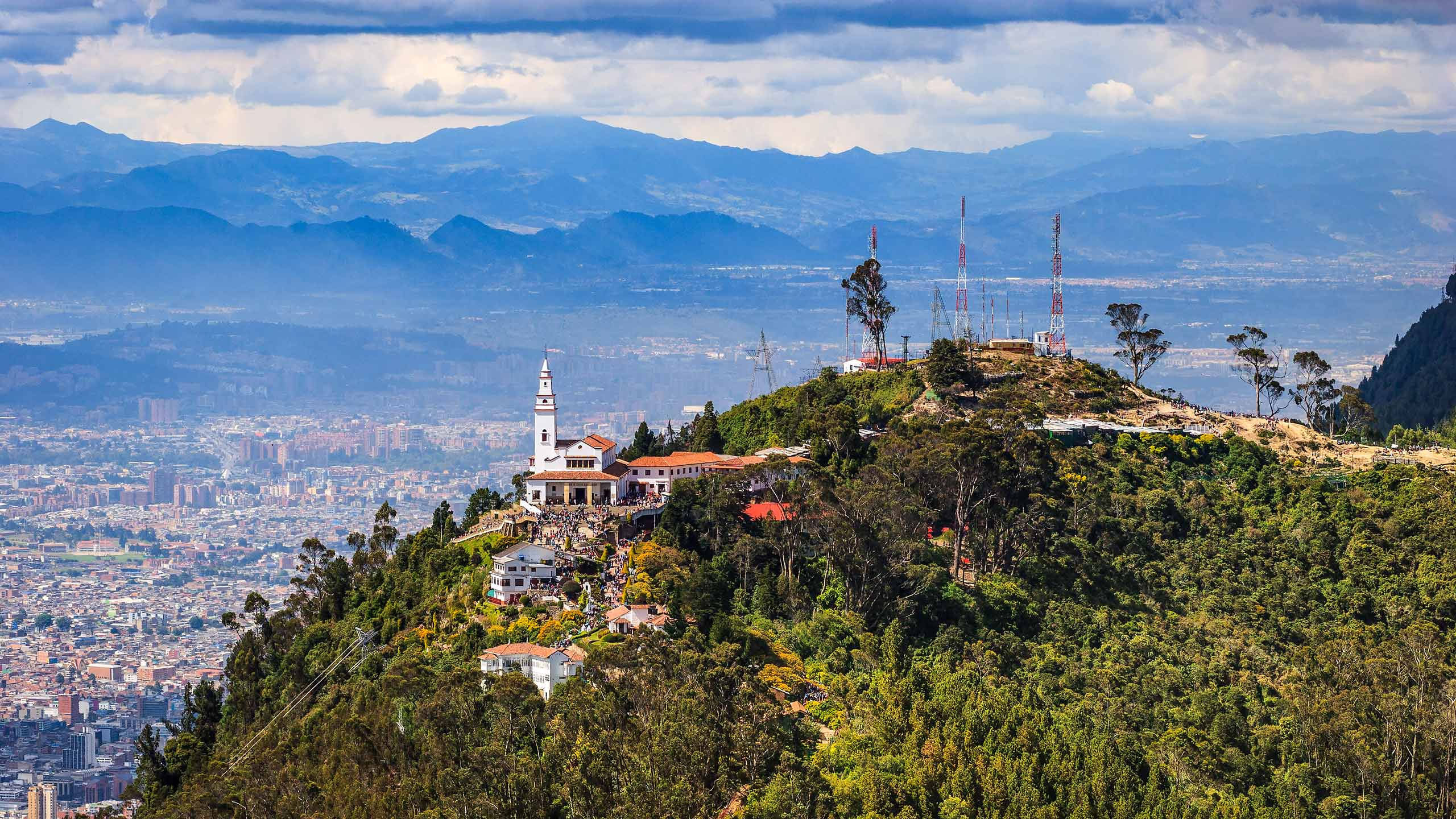 Bogotá, Colombia - Looking To The Andes Peak Of Monserrate And Beyond From Guadalupe; The Church On The Peak Is Cleary Visible.