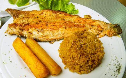 Colombia Food - Trout, Rice and Tapioca