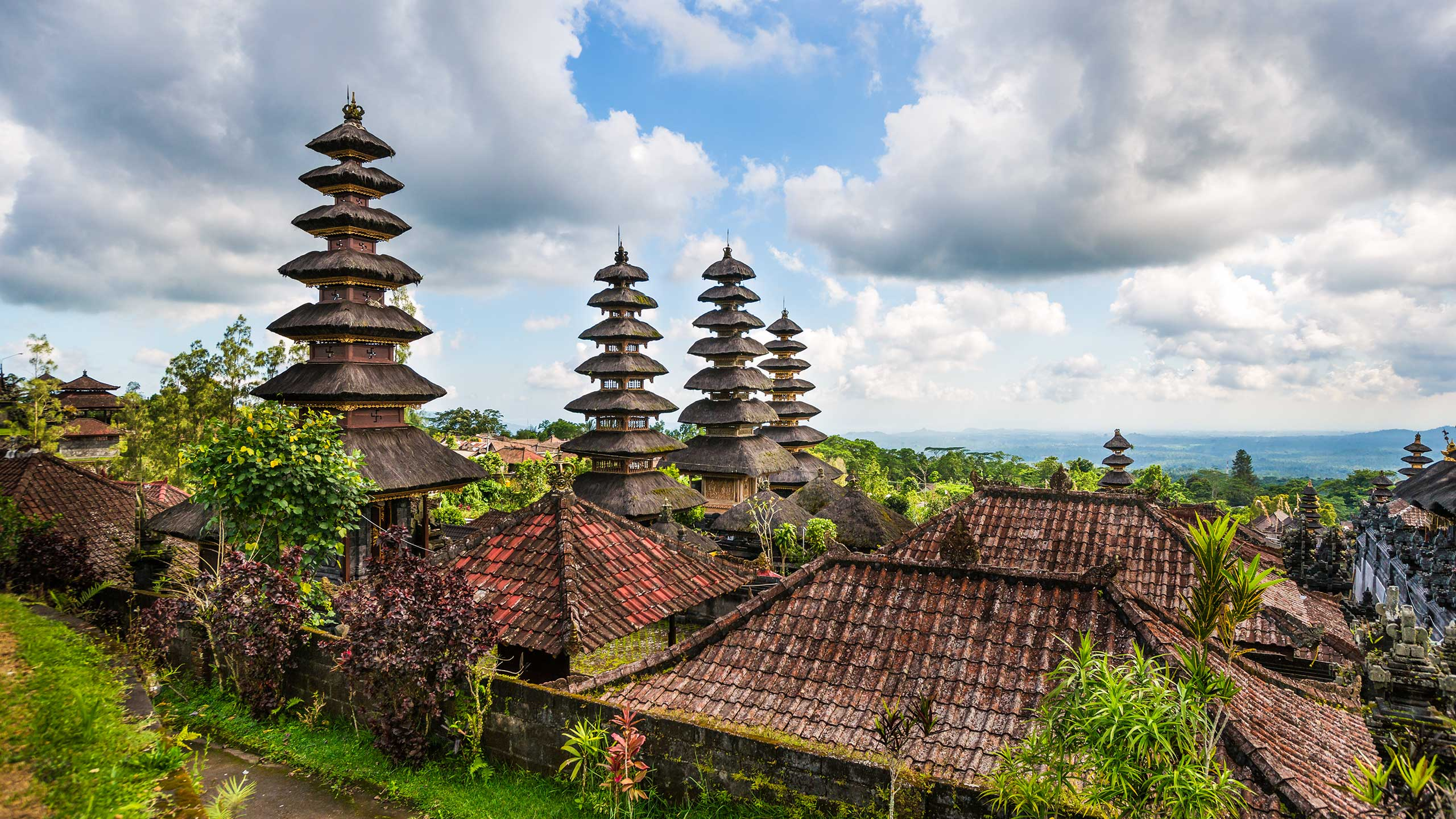 Roofs of Besakih Temple on Bali in Indonesia
