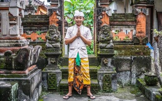 Balinese boy anjali mudra hand posture