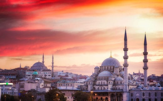 Istanbul skyline at sunset with dramatic sky