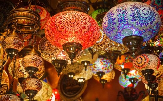 Mosaic Turkish lanterns in Grand Bazaar, Istanbul, Turkey