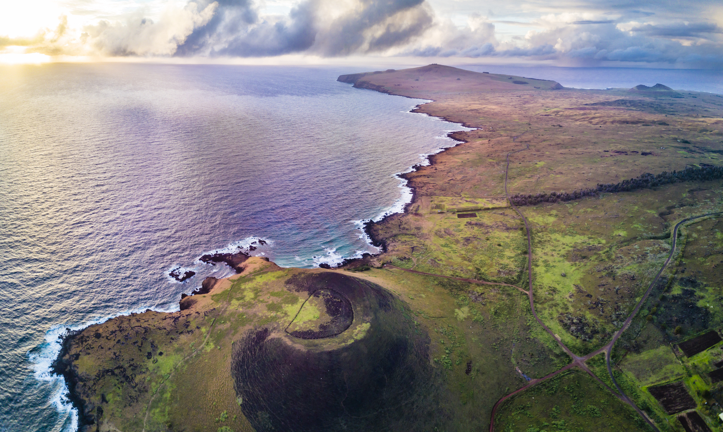 Aerial view of island coastline