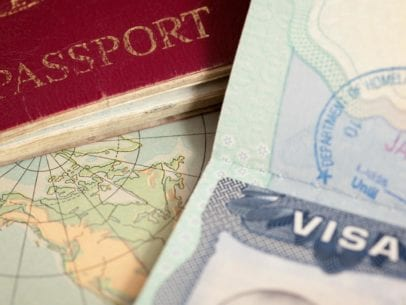 US visa, vintage map and passport background