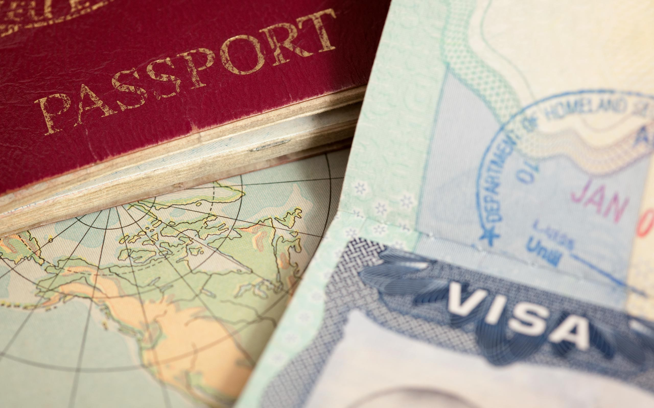 US visa, vintage map and passport background