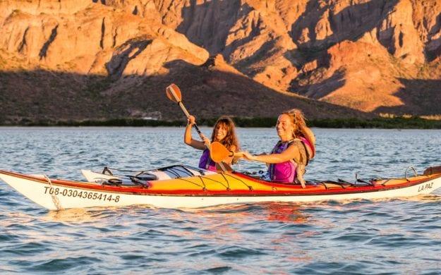 Two women kayaking in Baja, Mexico