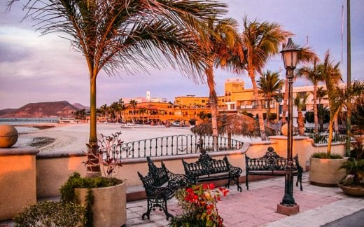 Beautiful evening on the promenade in La Paz, Baja California Sur, Mexico.