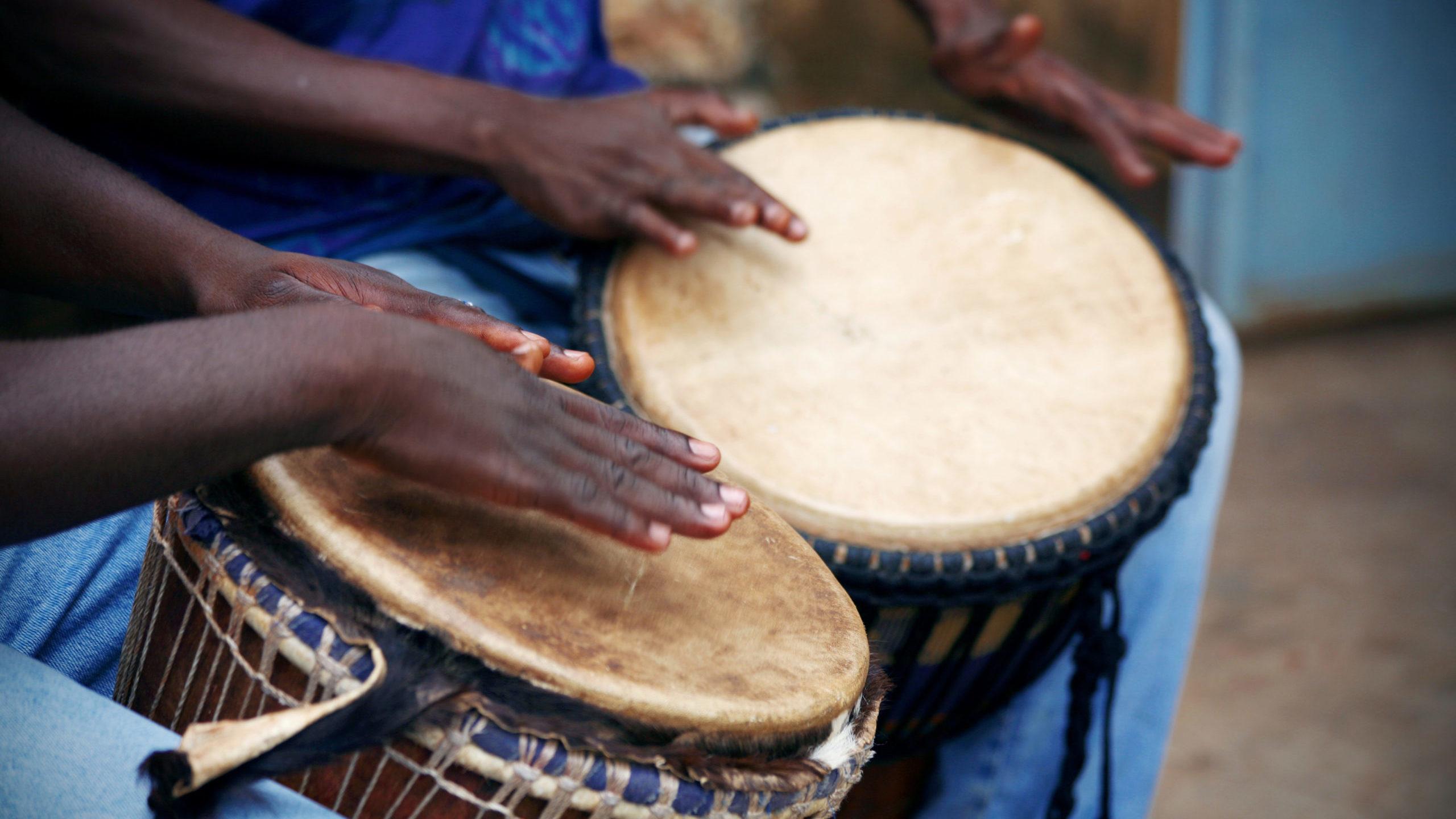 West African djembe drummers