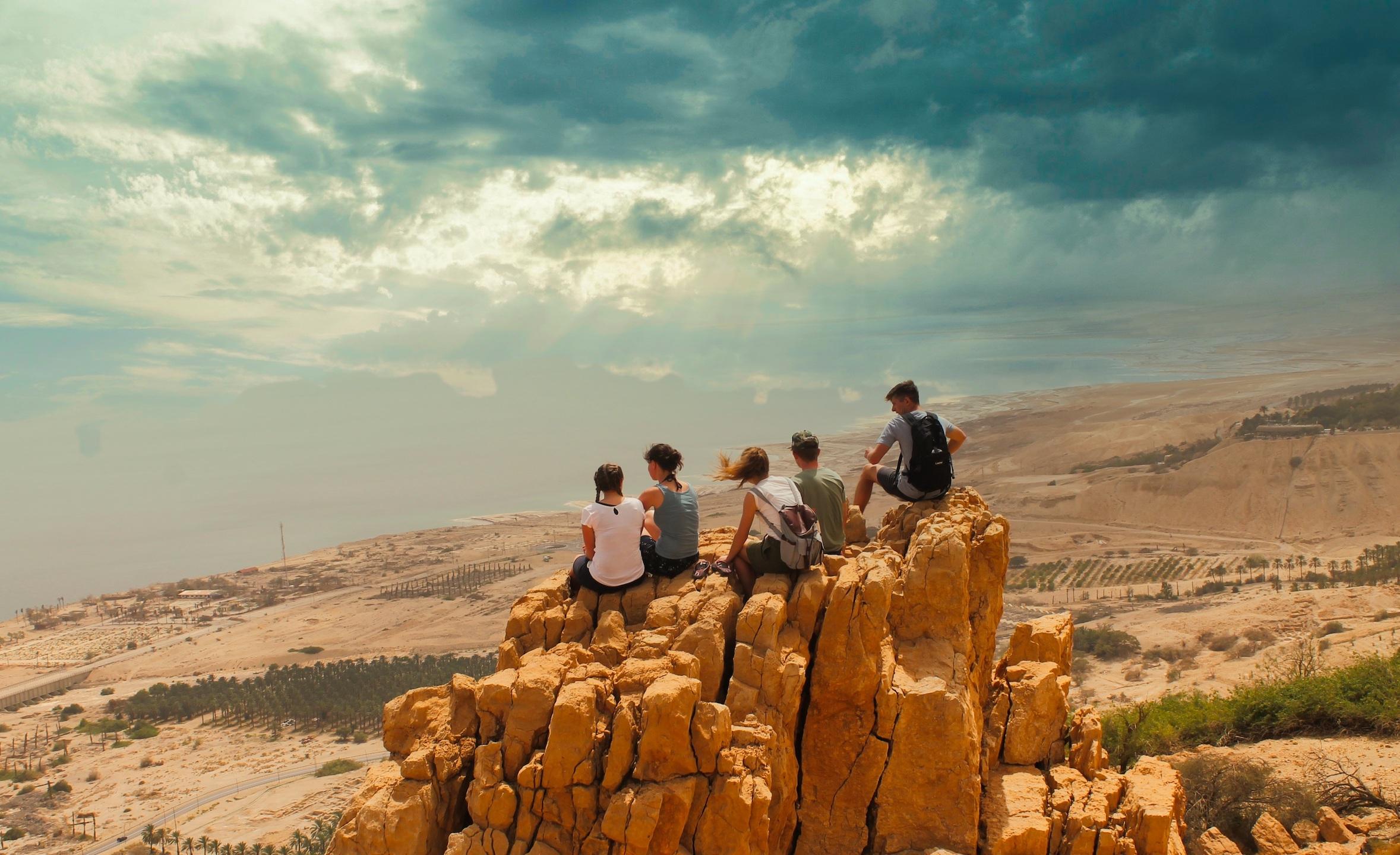 group on rock in Negev desert