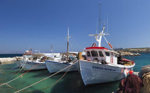 Fishing boats docked on Paros Island