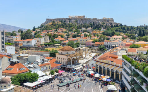 Panorama of Athens including Acropolis in distance